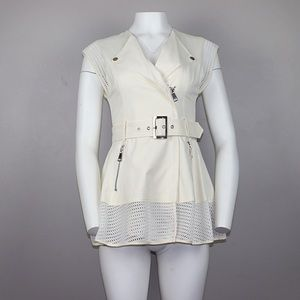 Bebe Off White Belted Trench Coat